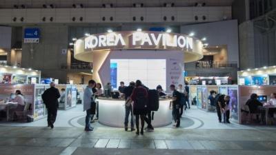 海外出展としては最大規模の韓国パビリオン。44社が軒を連ねる