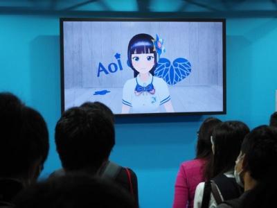 Smarpriseのブースには『富士葵』が登場。歌やトークなどを披露してくれる