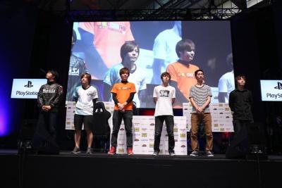 Day2に勝ち進んだ6選手。左からノビ選手、ペコス選手、ノロマ選手、ダブル選手、破壊王選手、AO選手