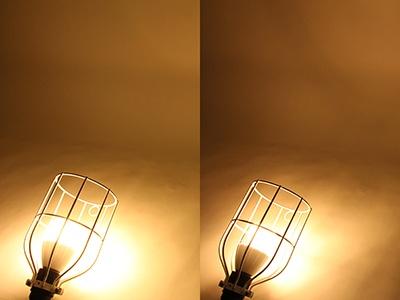 新モデルLSPX-103E26(左)と前モデルLSPX-100E26J(右)の明るさの比較。明るさが増したことで、より広い範囲を明るく照らせるようになった