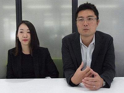 パーフェクトの磯崎順信社長(右)、ビジネス デベロップメント マネージャーの中川良子氏(左)