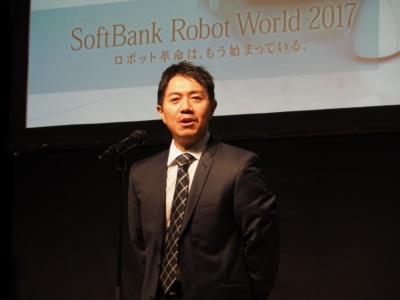 最初に登壇したソフトバンクロボティクスグループ代表取締役社長兼CEO・冨澤文秀氏