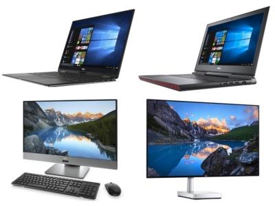 2017年度グッドデザイン賞を受賞した、13.3型2-in-1ノート「XPS 13 2-in-1」(左上)、ゲーミングPCとしても使える15.6型ノート「Inspiron 15 7000 ゲーミング」(右上)、27型液晶一体型デスクトップ「Inspiron 27 7000 フレームレスデスクトップ」(左下)、27型ディスプレー「Dell Sシリーズ S2718D 27インチワイド フレームレスモニタ」(右下)
