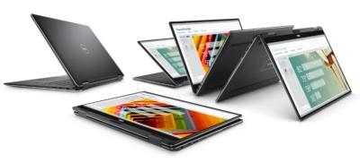 2017年度グッドデザイン賞を受賞した製品のひとつ、13.3型2in1デバイス「XPS 2-in-1」。ディスプレー部分が360度回転してタブレット型に変形する