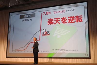 Yahoo!ショッピングは出店料を無料にし、店舗数を大幅に増やすことで売り上げを高める戦略に出ている(ソフトバンク2015年3月期第一四半期決算説明会より)
