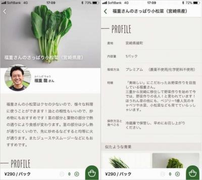 商品は生産者のプロフィールや野菜の保存方法、食べごろ、おいしい食べ方なども閲覧できる