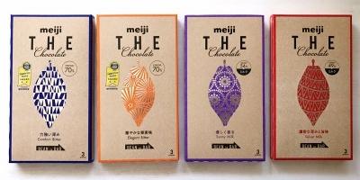 2016年9月にリニューアル発売された「明治 ザ・チョコレート(50g)」(実勢価格220~230円)。「力強い深みコンフォートビター」「華やかな果実味エレガントビター」「優しく香るサニーミルク」「濃密な深みと旨味ベルベットミルク」の4品