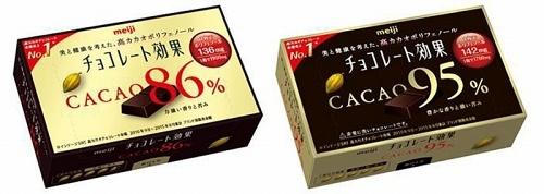 明治の「チョコレート効果カカオ86%」「チョコレート効果カカオ95%」(いずれも参考価格220円)