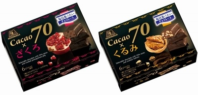 2016年8月に「カレ・ド・ショコラ カカオ70」シリーズから発売された「カカオ70×くるみ」「カカオ70×ざくろ」(各330円)