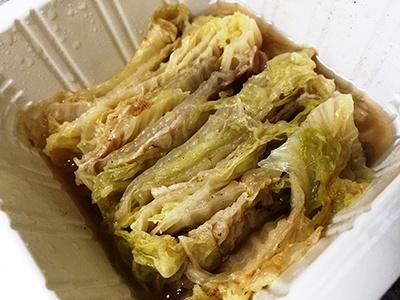「ぶた肉ミルフィーユ 豚肉と白菜の重ね蒸し」の出来上がりはこんな感じ
