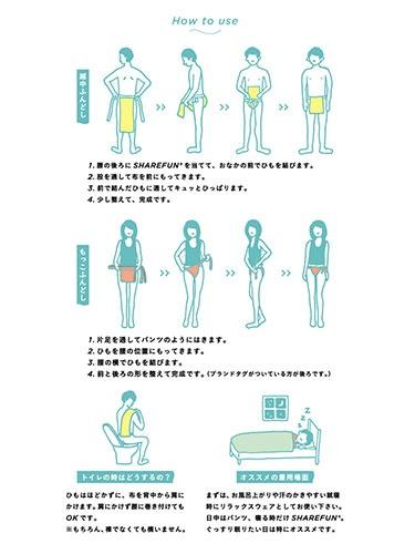 SHAREFUNのふんどしは使い方の説明イラスト付き。もっこふんどしの履き方は簡単(イラスト中央)。左足を輪になっているほうに入れ、右腰でひもを結ぶだけだ(イラスト提供:SHAREFUN)