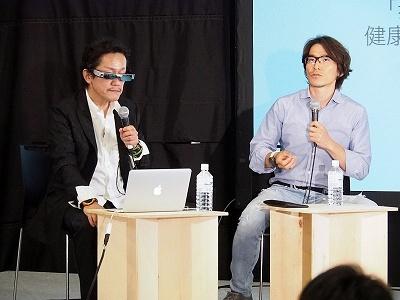 「ウェアラブル・AR・位置情報と、まち・みらい」に登壇した神戸大学大学院工学研究科教授の塚本昌彦氏(左)と、ナイアンテック日本法人の社長・村井説人氏。『ポケモンGO』とAI(人工知能)の連携について聞かれた村井氏は、「(ユーザーと一緒に歩く)相棒ポケモンがAIを備えてユーザーをサポートするようになるかもしれない」と今後の構想を語った