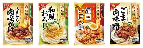 キッコーマン食品の「具麺ソース」シリーズは2品「あまから肉ぶっかけ」「和風おろし」が新発売・2品が増量リニューアル(各希望小売価格各220円)