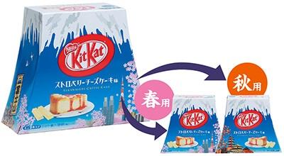 富士山状のケースで誘客。表面には桜、裏面には紅葉を印刷し、どちらの季節にも対応可能