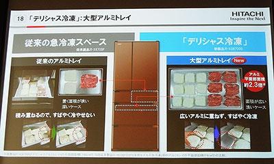 従来の急冷凍室の約2.3倍の大型アルミトレイを採用したデリシャス冷凍