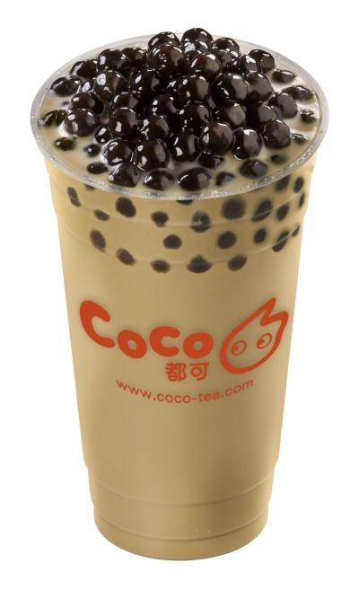 「CoCo都可」で最も人気がある「タピオカミルクティー」(Mサイズ、税込み485円)。生フルーツを使ったドリンクも人気があるという