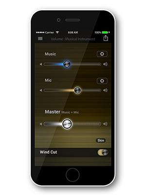専用の無料アプリでスマホからの音楽と、マイクで拾う周囲の音のバランスを細かく調整できる。マイク音をオフにすることも可能