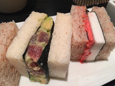 同じく寿月堂の「築地 シーフードサンド」(セットメニュー)のサンドイッチ部分。左が「マグロとアボカド」、右が「はんぺんと明太子」