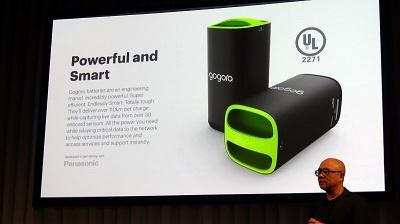 Gororoのスマートスクーターは、2基のバッテリーで連続100km以上の走行が可能だ。バッテリー製造はパナソニックと提携している