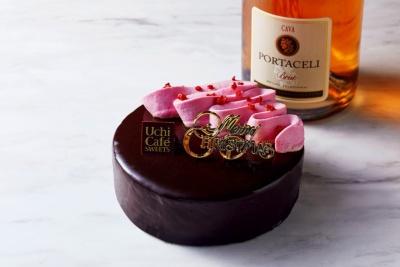 「Uchi Cafe ルビーチョコレートのショコラケーキ」(税込み3200円)。ローソンストア100を除くローソン全店で取り扱う。予約期間は12月2~18日。受け取り期間は12月19~25日