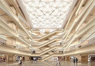 グエナエル・ニコラ氏のデザインによる館内のイメージ。日本建築の障子や行燈などの光を参考に、風のように光が全体に回るデザイン。銀座や京都に残る路地をイメージして、通路を適度に雁行させることで、そぞろ歩く楽しみを演出したという