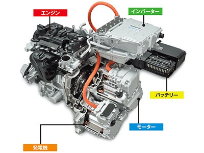 e-POWERのカットモデル。これだけのユニットをコンパクトカーに収めるために様々な工夫をした。バッテリーは前席下部に配置