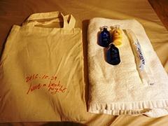 入浴用タオルのレンタルも可能。シャンプー、リンス、ボディシャンプー、布袋付きで500円
