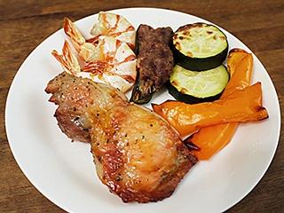 同時調理した食材。どれもこんがりと焼け、野菜は驚くほどみずみずしかった