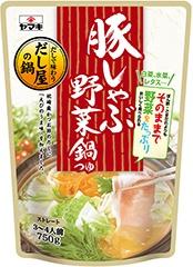 鶏系地鶏だし塩鍋つゆに次いでよく売れている「豚しゃぶ野菜鍋つゆ」(標準小売価格350円)