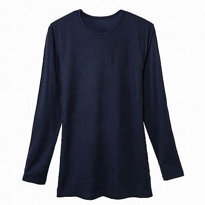 「トップバリュ ピースフィット 綿厚地インナー(肌側綿100%) クルーネック9分袖」(1880円)。素材はアクリル50%、綿45%、ポリウレタン5%で、肌に直接触れる内側部分はオーガニックコットン100%
