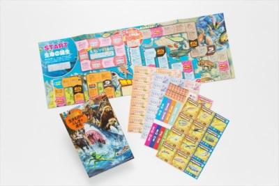 物販コーナーではシリーズの図鑑や、ここでしか買えないオリジナルグッズなどを購入できる。図録は図鑑のようなデザインで、生きものの進化が分かるゲーム付き。会場限定販売で税別2200円だ