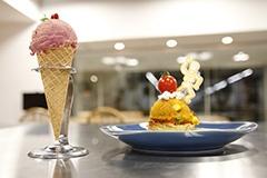 """この日の題材となった「アイス風わんごはん」(左)と、「カップケーキ風わんごはん」(右)。いずれも、可愛らしさを追求した""""ハレの日"""" メニュー"""