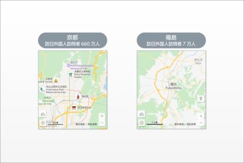 百度マップで京都と福島を検索した際の結果比較。どちらの土地も魅力的な観光地やグルメがあるにもかかわらず、京都は観光地が多数表示されるのに対し、福島はまったく表示されない