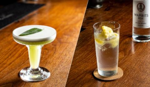 (写真左)「Oryzae Sour(オリゼサワー)」。鮮やかな緑色はキューカンバー(きゅうり)で、麹によく合う。(写真右)「TUMUGI TONIC」。氷の上に冷凍パイナップルをすりおろすことで、トロピカルなテイストになる
